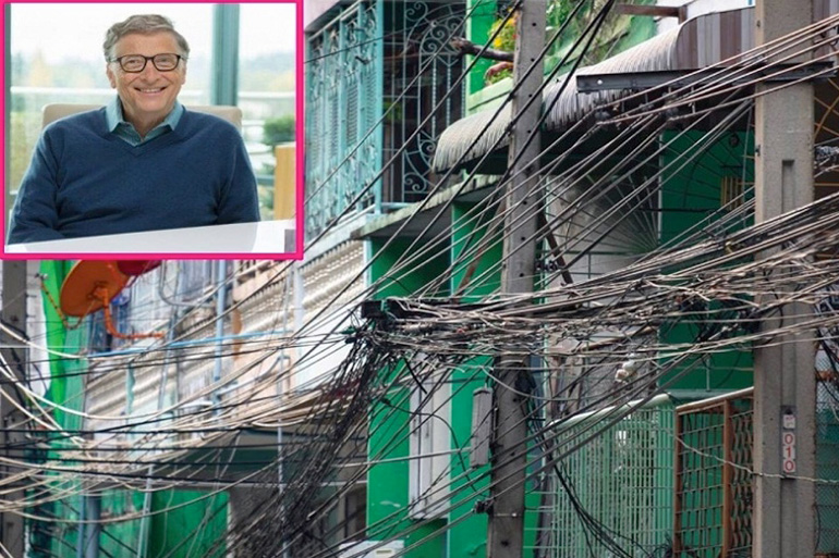 Bill Gates on Thailand's hanging internet and hanging wires